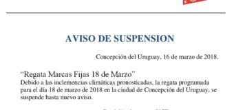 Aviso de suspensión Regata Marcas FIjas Marzo