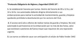 Protocolo COVID-19 de ingreso al Club